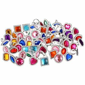 72 Pieces Plastic Colorful Rhinestone Gem Rings Sparkle Adjustable Big Jewel Toy