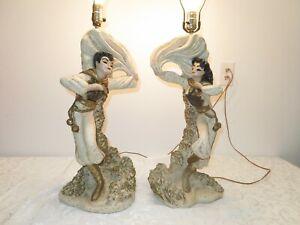 Mid Century Modern  PAIR Reglor Continental Dancer Chalkware Pottery Lamps
