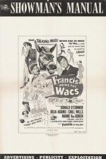 FRANCIS JOINS THE WACS pressbook, Julia Adams,  Mamie Van Doren ---PLUS POSTER--