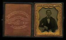 1857-58 Ambrotype Young Man by I.A. Branshaw, Troy, NY in Schoonmaker Case, 9th