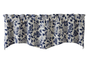 """MANDARIN FLORAL Lined Wave Valance 58"""" W x 18"""" L - Navy and Ivory"""