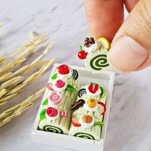 Dollhouse Miniatures Food Cake Bakery Ceramic Tray Set Mini Tiny Barbie Supply