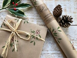 Christmas Kraft Gift Wrapping Paper Roll Recyclable  Xmas Wrap Mistletoe Berries