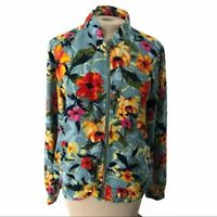 Susan Graver Zip Front Floral Bomber Jacket Seafoam Coral S Small