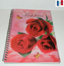 "CAHIER SPIRALE COUVERTURE PLASTIFIE PAGE RAYE & DATE ""FLEURS""  NEUF"