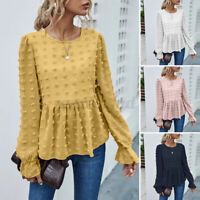 2021 UK Women Long Sleeve Peplum Blouse Tee Backless Shirt Floral Tops Plus Size