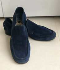 BALLY MENS NAVY BLUE SUEDE SLIP ON PENNY LOAFER SHOES UK10 E Made In Switzerland