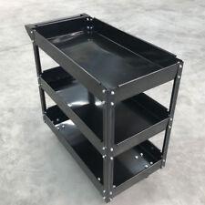 150KG 3 Tiers Heavy Duty Steel Mechanic Handyman Tool Cart Trolley Tray - Black