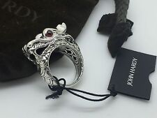 New John Hardy Sterling Silver Naga Dragon Ruby & Black Sapphire Ring Size 6