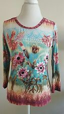 Investments  Women's Size Small Teal Blue Floral Long Sleeved Top Blouse