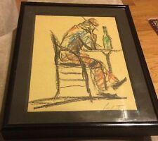 Pechstein, Hermann Max (German, 1881-1955) Crayon Drawing Art Painting Signed