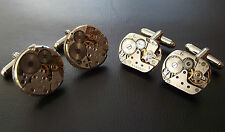 2 PAIRS Mens Steampunk Watch Movement Vintage Silver Cuff Links Wedding Gift Set