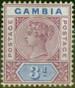 Gambia 1898 3d Reddish Purple & Blue SG41 Fine Mtd Mint
