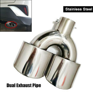 63MM Steel Car Rear Dual Exhaust Pipe Tail Muffler Tip Throat Tailpipe Universal