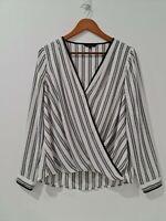 [ PORTMANS ] Womens White & Black Striped Wrap Top | Size AU 12