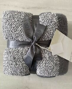 "NWT Barefoot Dreams CozyChic Throw Blanket 45""x60"" Graphite Stone Gray $120"