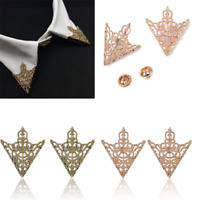 2PC Spike Stud Triangle Blouse Shirts Collar Clip Neck Tip Brooch Pin Chain Gift