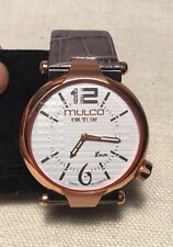 Mulco Couture Ladies Stainless Steel Rose Gold Tone & Gray Leather Watch