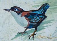 Original ACEO / Little Bird / Original Watercolour by Sergej Hahonin