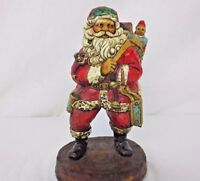"Santa Claus w/ Toy Bag Faux Wood 8"" Christmas Figurine"