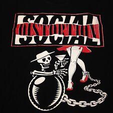 Social Distortion Lg Black T-Shirt Rock  Music Punk Skateboard Bar Band Concert