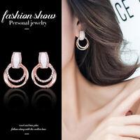 Rose Gold Plated 2 Hoop Stud Dangle Crystal Circle Stud Earrings Women Jewelry