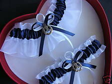 Wedding Garter Set Navy Blue White Horseshoe /  Country