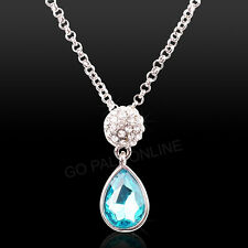 4 pieces White Gold Plated Aqua Drop Czech Crystal Bridal Party Prom Gift Set AU