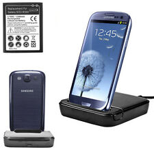 USB Charger Sync Dock Cradle+Battery for Samsung Galaxy S3 i9300 Charging Dual
