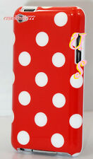 for iPod touch 4th 4 th 4gen itouch white and red polka dots hard back case