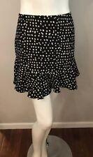 Banana Republic Black White Polka Dot Flare Peplum Skirt Size 4