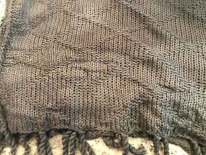 "Pottery Barn Roberts Diamond Knit Throw 50"" x 60"" Charcoal Gray NEW"