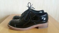 Chanel CC Logo Black Patent Leather Lace Up Oxford Flat Shoes Size 37C