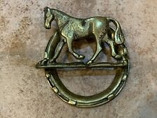 "Vintage Mid-Century Brass Door Knocker 4.5"" Horseshoe Horse Patina Hardware Euc"