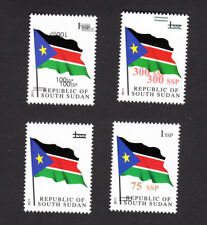 SOUTH SUDAN 2017 NH 4 Surcharge Trial Printings on 1 SSP Flag  - FreeUSAShipping