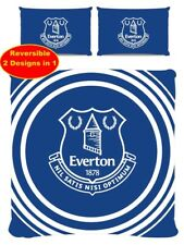 NEW EVERTON DOUBLE DUVET QUILT COVER SET BOYS KID FANS FOOTBALL BLUE BEDROOM