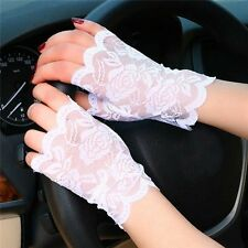 Women Summer Lace Sunscreen Fingerless Gloves Driving Anti-UV Party Gloves
