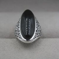 New Solid 925 Sterling Silver w/ Natural Long Black Agate Ring Size 4-10