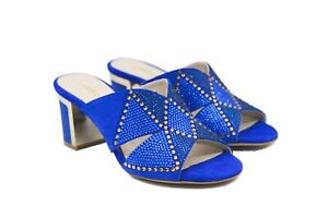 LucyToni Electric Blue Jewel Encrusted Open Back Sandals with Block Heel