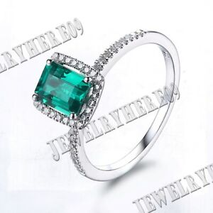 FLAWLESS 7x5MM TREATED EMERALD NATURAL SI DIAMONDS LADY HALO RING 14K WHITE GOLD
