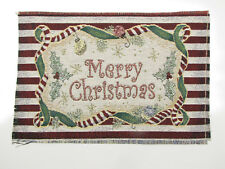 Merry Christmas Holly - Tapestry Fabric Pillow Panel Wall Frame Craft Piece 13x9