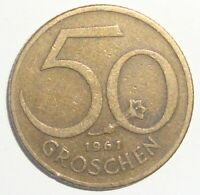 1961 AUSTRIA 50 GROSCHEN WORLD COIN NICE!