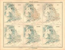1898 ANTIQUE MAP - ENGLAND & WALES AVERAGE RAINFALL, AVERAGE TEMPERATURE, 2 MAPS