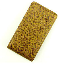 Auth Chanel iPhon case caviar skin  COCO Mark ladies used J13186
