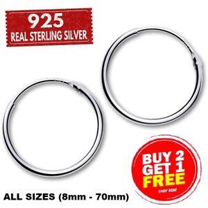 GENUINE REAL 925 STERLING SILVER HOOP SLEEPER HUGGIES EARRINGS LARGE SMALL RINGS