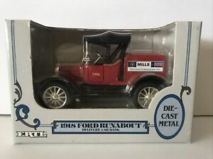 ERTL 1918 Ford Runabout Delivery Car Bank 1:25 Scale Mills Ford Brainerd MN