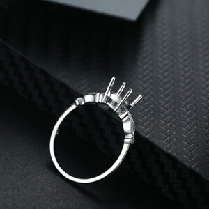 Round 6mm 0.1CT Diamonds Semi Mount Engagement Ring Setting Solid 10k White Gold