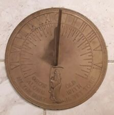 "Vintage Brass Garden Sundial ""Grow old along with me."" Father Time & Bird"