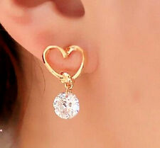 Open Heart Earrings w/ Round Crystal Drop 14k Yellow Gold Stud CZ Dangle