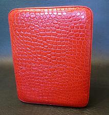 Quattro Orologio Vera Pelle Da Viaggio/Storage Case-Alta Lucentezza Rosso Coccodrillo Modello
